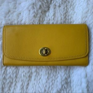 Coach Legacy Turnlock Wallet in Yellow Leather